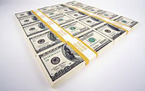Фотографии Деньги Банкноты Доллары Серый фон