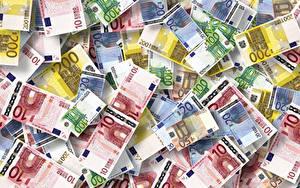 Картинка Деньги Банкноты Евро Текстура 10 50 100 200