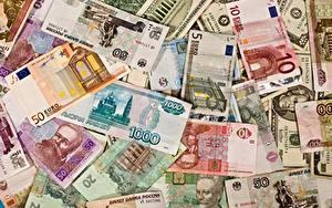 Фотографии Деньги Текстура Купюры Рубли Евро