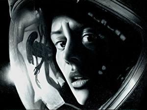 Фотография Чудовище Лица Взгляд Черно белые Шлема Alien: Isolation, Amanda Ripley компьютерная игра Девушки