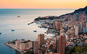 Обои Монте-Карло Монако Дома Побережье Корабли Сверху Горизонт город