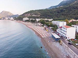 Обои Черногория Берег Здания Пляжа Sutomore Beach
