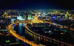 Картинка Москва Речка Россия Ночные Города