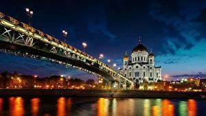Фотография Москва Россия Мост Храмы Реки Собор Cathedral of Christ the Saviour Города
