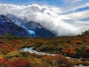 Обои Гора Аргентина Траве Ручеек Облачно Andes, Patagonia Природа