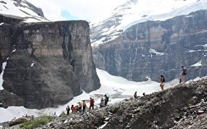 Фотография Горы Канада Банф Каньон Скалы Снега The Trail Of The Six Glaciers