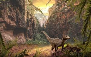 Фотографии Горы Динозавры Утес Животные