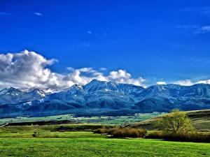 Фото Гора Поля Небо Пейзаж Луга Облачно Природа