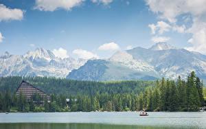 Фотография Гора Леса Озеро Лодки Словения Tatra mountains