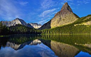 Обои Горы Леса Озеро Пейзаж