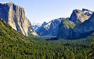 Обои Горы Леса Парки Америка Калифорнии Йосемити Sierra Nevada mountains.