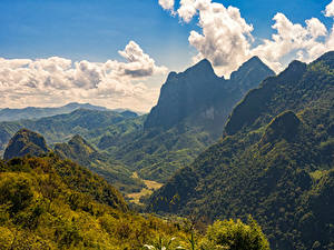 Картинки Горы Леса Пейзаж Холмов Облачно Laos Природа