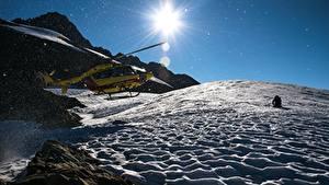 Фотография Гора Вертолет Снега Солнца Авиация