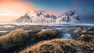 Обои Гора Исландия Vestrahorn, Stokkness Природа