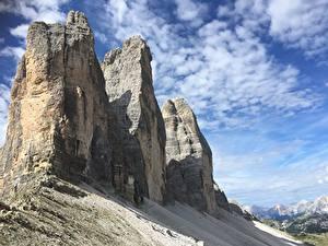 Фотография Горы Италия Скале Альпы dolomite Alps, Tre Cime