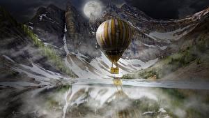 Обои Гора Озеро Воздушный шар Луна Ночь Фантастика