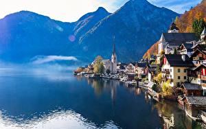 Обои Гора Озеро Дома Австрия Халльштатт Отражение Альп