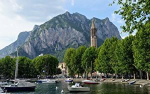 Фотографии Гора Озеро Италия Башня Lecco, Lombardy, Lake Como Города