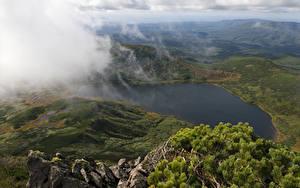 Фотография Горы Озеро Россия Облачно Сверху Sakhalin island Природа