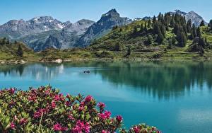 Фотографии Гора Озеро Швейцария mount Titlis, Trüebsee, Nidwalden Природа