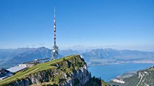 Фото Гора Озеро Швейцария Утес Альп lake Thun, mount Niederhorn Природа