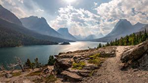 Обои Горы Озеро Штаты Пейзаж Деревья Облака Saint Mary Lake