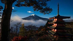 Обои Гора Пагоды Япония Фудзияма Дерево Mount Fuji, Honshu