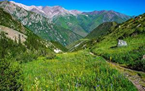 Фотографии Гора Парк Пейзаж Тропинка Ala Archa National Park, Kyrgyzstan