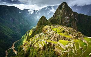 Картинка Горы Перу Развалины Сверху Machu Picchu, Urubamba Province Природа