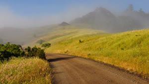 Фото Горы Дороги Туман Природа