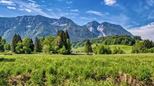 Картинка Гора Пейзаж Германия Трава Chiemgau, Upper Bavaria Природа