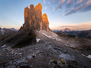 Обои для рабочего стола Гора Камень Италия Утес Dolomites, Drei Zinnen Природа