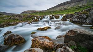 Картинка Гора Камень Водопады Речка Исландия Dynjandi Waterfall Природа