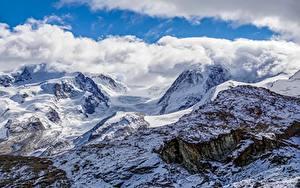 Картинки Гора Швейцария Облака Альпы Природа