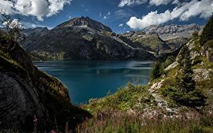 Фотографии Гора Швейцария Озеро Альп Природа