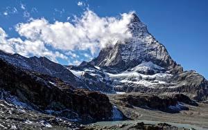 Фотографии Горы Швейцария Облачно Matterhorn Природа
