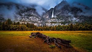 Фотографии Горы Водопады Америка Пейзаж Облако Йосемити Калифорния