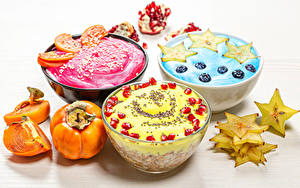 Картинки Мюсли Хурма Йогурт Фрукты Десерт Завтрак Три Продукты питания