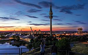 Фото Мюнхен Германия Рассветы и закаты Парки Башня Olympic Park