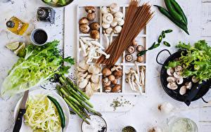Фотографии Грибы Овощи Специи Острый перец чили Макароны