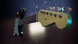 Фотографии Музыкальные инструменты Вблизи Гитары 3D Графика