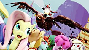 Фотографии My Little Pony Deadpool герой Пулеметы 3D_Графика