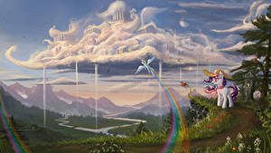 Фотография My Little Pony Фантастический мир Горы Пейзаж Облако мультик