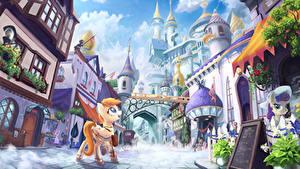 Обои My Little Pony Здания Фантастический мир