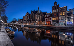 Фотографии Голландия Амстердам Дома Лодки Водный канал В ночи