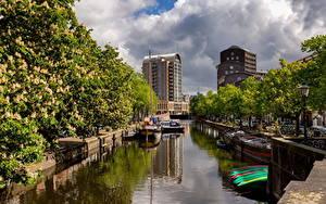 Обои Нидерланды Лодки Дома Водный канал Облако Hague