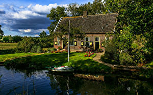 Фотографии Нидерланды Здания Лодки Utrecht