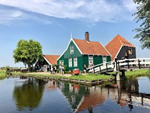 Обои Нидерланды Здания Мосты Haaldersbroek