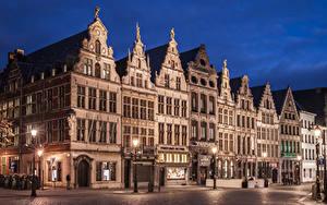 Фотографии Нидерланды Дома Вечер Улиц Уличные фонари Antwerpen Города