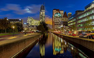 Фотография Голландия Дома Водный канал Набережной Hague Города